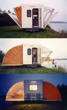 """De Markies"" (The Awning) was an entry in the ""Temporary Living"" competition 1985 and was conceived as a mobile home. On the road, it measures 2.00 m by 4.50 m, and once it has arrived at its destination its floorspace can be increased threefold in a matter of seconds. ""De Markies"" was awarded the Public Prize at the Rotterdam Design Prize 1996.  http://www.bohtlingk.nl/index.php/en/projects/mobiles/53-markies.html"