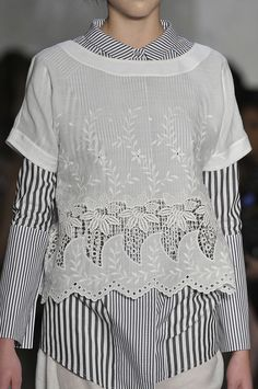 Suno - layering of button down with crisp white over-lay
