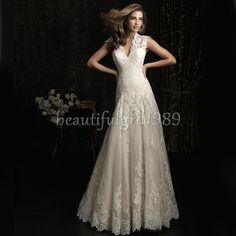 NEW Sexy White Lace Long Princess Bridal Wedding Dress Bridal Gown#D107