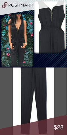 Coming Soon!! Adorable black sleevless pants romper!! Super comfy  gold zipper accent!! Retail Chic  Pants Jumpsuits & Rompers