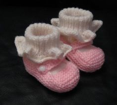 Handknit baby booties