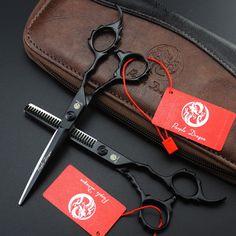 Zi 440C 6.0-inch black paint personality hairdressing scissors barber scissors flat cut bangs scissors to send package