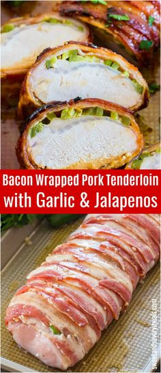 Bacon Wrapped Pork Tenderloin is crispy on the outside and juicy on the inside. Made with garlic, honey and jalapeños for extra flavor. Pork Tenderloin Oven, Bacon Wrapped Pork Tenderloin, Pork Recipes, Cooking Recipes, Cooking Pasta, Cooking Bacon, Spicy Recipes, Recipies, Healthy Recipes