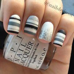striped nail art