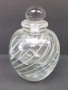 "Lg. EICKHOLT HEAVY GLASS PERFUME BOTTLE: CLEAR WITH SWIRLS 5"" | Pottery & Glass, Glass, Art Glass | eBay!"