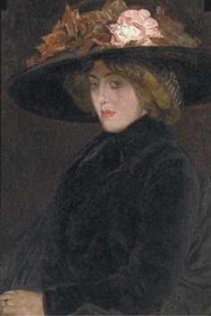 Leo Gestel, Portret van een  elegante dame met hoed