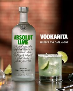 French films pair well with Swedish vodka. Surprise your special someone with this simple cocktail recipe and a romantic night in.   Vodkarita:  2 Parts Absolut Lime  1 Part Lime Juice  1/2 Part Agave Nectar  Mix and Shake  Garnish with Lime on a Salt Rimmed Glass