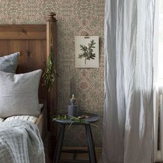Drawing inspiration from the extravagant ornamental wallpaper that graced the walls of century manor houses in bygone days, our Pigkammaren pattern blends recurring motifs with a beautiful colour scheme of powder blue and rich, creamy beige. Wallpaper Samples, Pattern Wallpaper, Vintage Room, Dream Apartment, Raw Wood, Home Bedroom, Boho Style, Interior Styling, Ladder Decor
