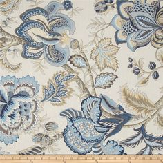 Tempo Jacobean Floral Blue from @fabricdotcom  Screen printed on cotton duck; this versatile medium weight fabric is perfect for window treatments (draperies, valances, curtains and swags), accent pillows, duvet covers and upholstery. Colors include yellow, taupe, tan, white, blue and ivory.