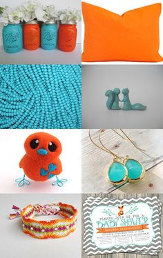 Turquoise and Orange  by Emma LaCroix on Etsy--Pinned with TreasuryPin.com #Pillows #Cushions #HomeDecor