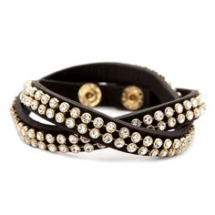 "Crystal Studded Leather Wrap  $30.00 / Item # B032  Double wrap leather bracelet in rich brown leather, with crystal stone accent and c+i snap closure with double snaps for adjustable fit.    semi-bright 12k gold plated  nickel-free  14"" approx. length  c+i signature snap button closure  brown"