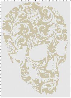inks saver flower skull pdf cross stitch by CrossStitchGraphghan