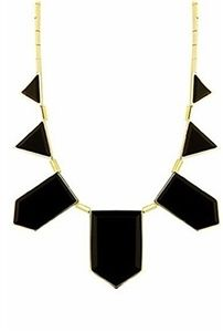 House of Harlow 1960 14K Gold and Black Resin Stations Necklace
