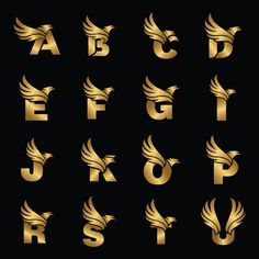 Letter with eagle gold logotype template Premium Vector Logo Type, Iphone Background Images, Logo Background, Typographie Fonts, Fille Anime Cool, Luxury Logo Design, Design Design, Design Trends, Inspiration Typographie