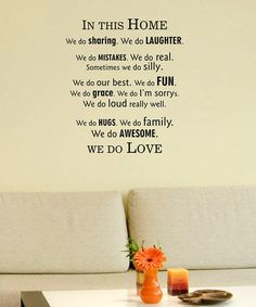 Take a look at this Black 'In This Home' Wall Decal by Wallquotes.com by Belvedere on #zulily today!