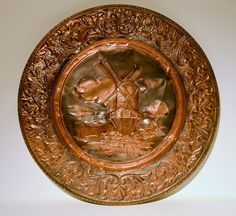 "Vintage Windmill Brass Copper Metal Decorative Etched Metal Hammered 23"""