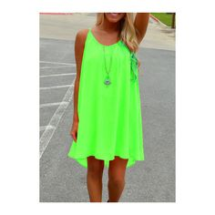 Strap Design Fluorescent Green Chiffon Straight Dress (61 RON) ❤ liked on Polyvore featuring dresses, green, mini dress, green mini dress, round neck sleeveless dress, neon green dress and chiffon print dress
