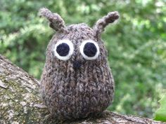cute and easy to knit, I used plastic eyes that lock in place so I didn't have to sew and picked up stiches for the ears.  My boys love it, their little long eared owl.