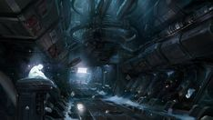 Concept artist John Wallin Liberto, created this interior art work for the video game Halo, this work fits wight he sci-fi feeling, this art is cold, dark and feels like a unpleasant place to be. Sci Fi Environment, Environment Design, Zooey Deschanel, Science Fiction, Supernatural, Spaceship Interior, Spaceship Art, 4 Wallpaper, Concept Art World