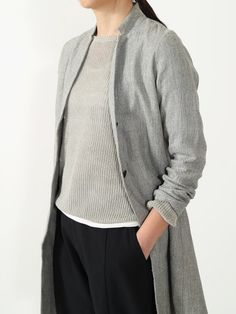 cotton linen silk long jacket