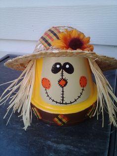 Scarecrow. Claypot scarecrow. Painted clay pot by AJewelOfACraft, $8.95