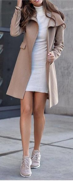#spring #outfits woman in beige coat and gray dress standing on pathway. Pic by @newyorklife_style #womendresses