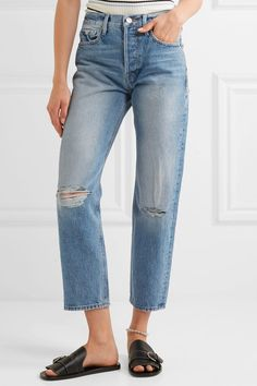 FRAME - Rigid Re-release Le Original Distressed High-rise Straight-leg Jeans - Blue - 24