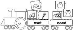 Needs vs. wants train worksheet