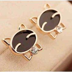 Rhinestone Cat Earrings from #YesStyle <3 Best Jewellery YesStyle.com