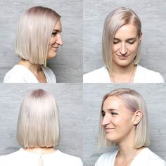 A beautiful blunt bob cut with a tiny touch of voilet by the one and only @ilikeyourbangs.com. Love it Jessica.