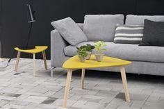 Masa de cafea din lemn si MDF Vitis Yellow, L80xl80xh45 cm