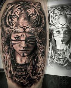 tiger tattoo, schwarz weiße zeichnung, frau, feder, tigerkopf