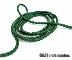 Satin chain braided silk cord emerald green 1meter by OandN, $1.20  @ #craftcords #jewelrycords #stringingmaterials #craftsupplies