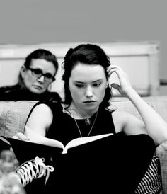 Actresses Carrie Fisher (Leia Organa) & Daisy Ridley (Rey) Reading Star Wars:The Force Awakens (2015) Script Penned By J.J. Abrams, Lawrence Kasdan and Michael Ardnt.