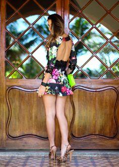 Vestido curto floral com renda   Look do dia