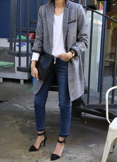 Oversized grey wool coat, white t-shirt, rolled ankle denim, black clutch and pointy ankle strap pumps