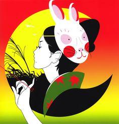Une jeune fille au masque de lapin par Hayashi Seiichi