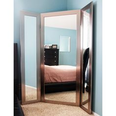 Order Brandt Works Modern Silver Tri-Fold 3 Way Dressing Mirror from Floor Mirror Gallery. Order now and receive FREE Shipping and a FREE jewelry display box!