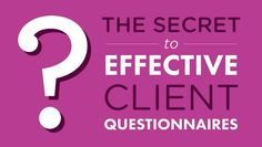 Learn why client questionnaires can help you (and your clients) prepare for great photos.