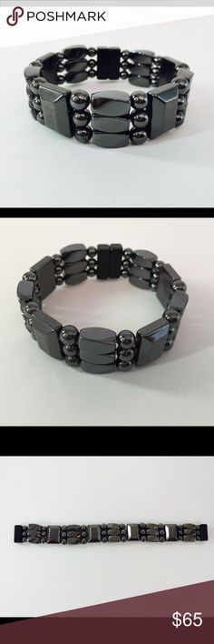 """High quality, healing magnetic hematite bracelet Purchased for myself but is a bit too small for me. 7"""" long. Benefits of Magnetic Therapeutic Jewelry: Magnetic hematite is widely recognized for providing relief from aches and pains by increasing the circulation of blood and carrying greater amounts of oxygen to every cell in the body.  This increased flow increases your rate of healing and reduces pain associated with injury. Jewelry Bracelets"""