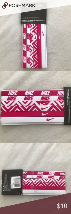 NWT Nike headbands NWT Nike headbands. Come in a pack of 6 and all have a pink and white design. Nike Accessories Hair Accessories