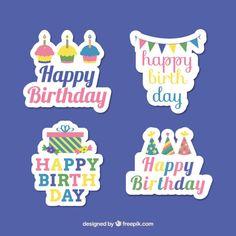 Pegatinas de cumpleaños Vector Gratis