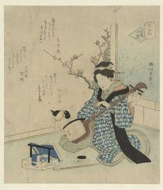 Japanse Kat, op De vrijgekochte geisha, Shigenobu (II) , Yanagawa, Rakuyôan, Ryûeishi, (1820-1830) (Rijksmuseum Amsterdam)