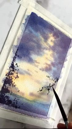 Watercolor Paintings For Beginners, Watercolor Art Lessons, Watercolor Video, Watercolor Landscape Paintings, Watercolour Tutorials, Watercolor Drawing, Watercolor Landscape Tutorial, Watercolor Scenery, Watercolor Clouds