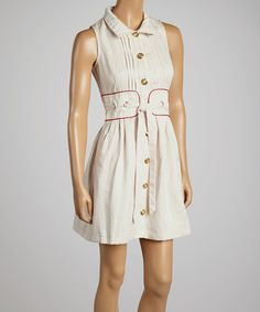 This Freeway Apparel White & Red Sleeveless Button-Up Dress - Women by Freeway Apparel is perfect! #zulilyfinds