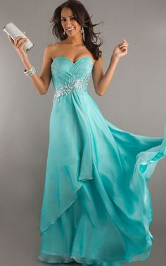 Sparkling Aqua Strapless Long Layered Dress With Sequins Detail