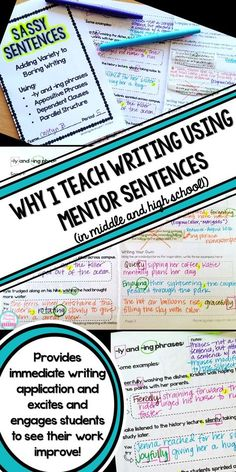 Why I Use Mentor Sentences to Teach Writing in my High School English Classroom Improve student writing and grammar without boring drills! Engage students and have fun while increasing writing sophistication with Mentor Sentences, 6th Grade Writing, Middle School Writing, Writing Classes, Middle School English, Writing Lessons, Writing Workshop, Teaching Writing, Writing Activities, Writing Skills