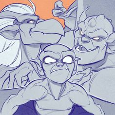 """Quick sketch of the trio! Got fav quotes? X) one that came to mind while sketching this, """"If they think we're beasts and monsters... Then perhaps we better live up to the name"""" Lex all badass. #gargoyles #thegargoyles #lexington #broadway #brooklyn #disney #art #igartist #gallery #sketch #doodle #bringitback #drawing #2d #art #fanart #sketchoftheday"""