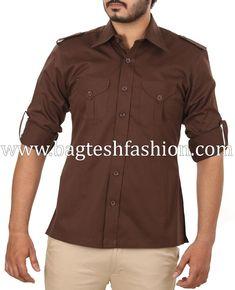 1dd76a4b1fd7e Mens Chocolate Brown Hunting Bush Shirt Hunting Shirts, Roll Up Sleeves,  Chocolate Brown,