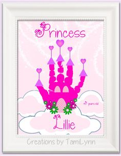 Princess Castle Handprint Art Personalized by CreationsbyTamiLynn